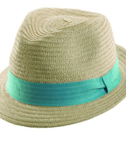 Paper Braid Fedora with Colored Ribbon Turquoise