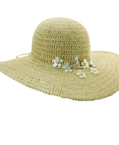 Crocheted Toyo Big Brim Hat with Shells Natural