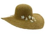 Crocheted Toyo Big Brim Hat with Shells Tea
