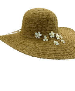 Crocheted Toyo Big Brim Hat with Shells Tea