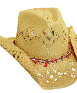 Toyo Western Hat with Shell Trim Natural