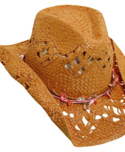 Toyo Western Hat with Shell Trim Tea