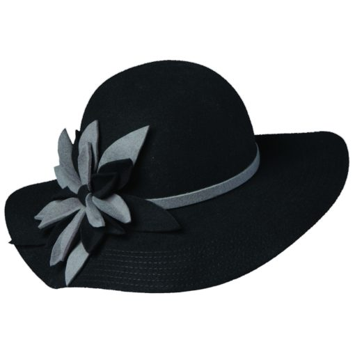 Callanan Wool Felt Floppy Hat with Flower Black