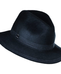 Callanan Wool Felt Safari hat with Top Stitch Trim Black