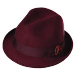 Callanan Wool Felt Fedora with Velvet Accent Burgandy