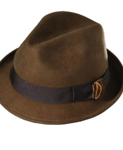 Callanan Wool Felt Fedora with Velvet Accent Pecan