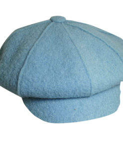 Boiled Wool Newsboy Cap Light Blue