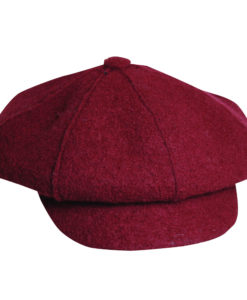 Boiled Wool Newsboy Cap Wine
