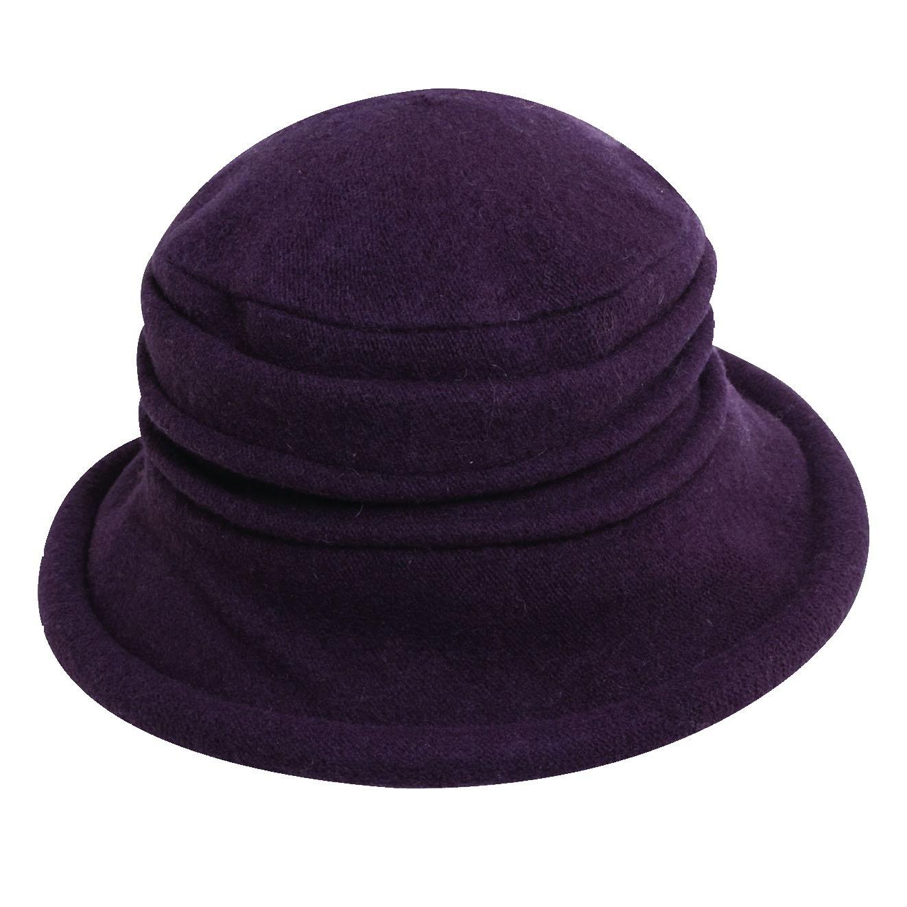 Boiled Wool Soft Cloche Hat Plum 22571014e8a