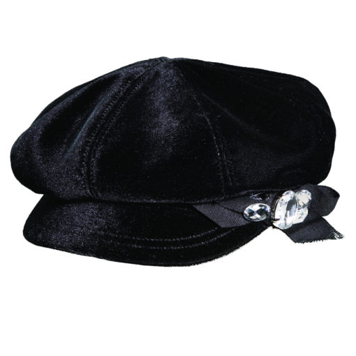 Velvet Newsboy Cap with Rhinestones Black
