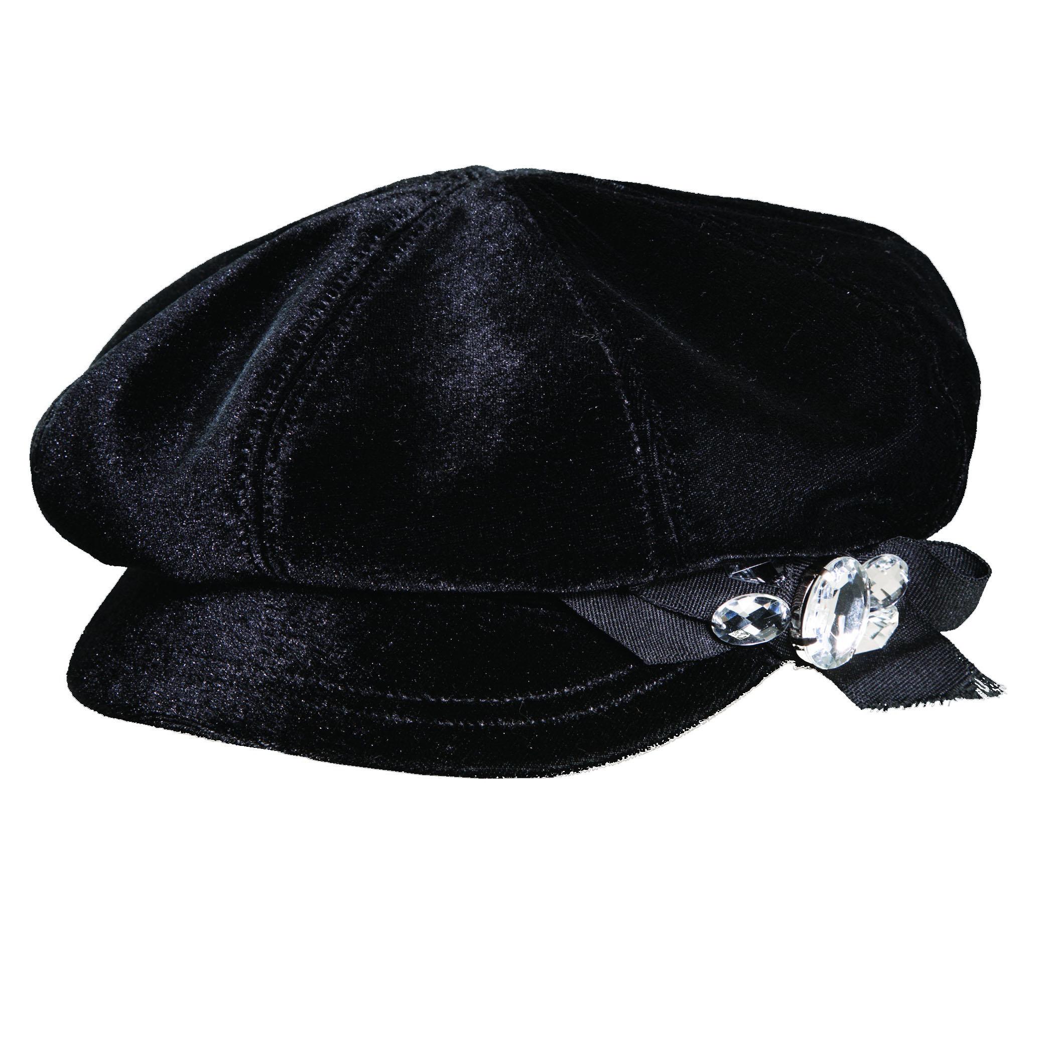 Velvet Newsboy Cap with Rhinestones Black d862b4fde61