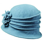 Boiled Wool Cloche with Rosettes Denim