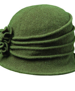 Boiled Wool Cloche with Rosettes Olive