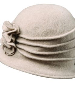 Boiled Wool Cloche with Rosettes Taupe