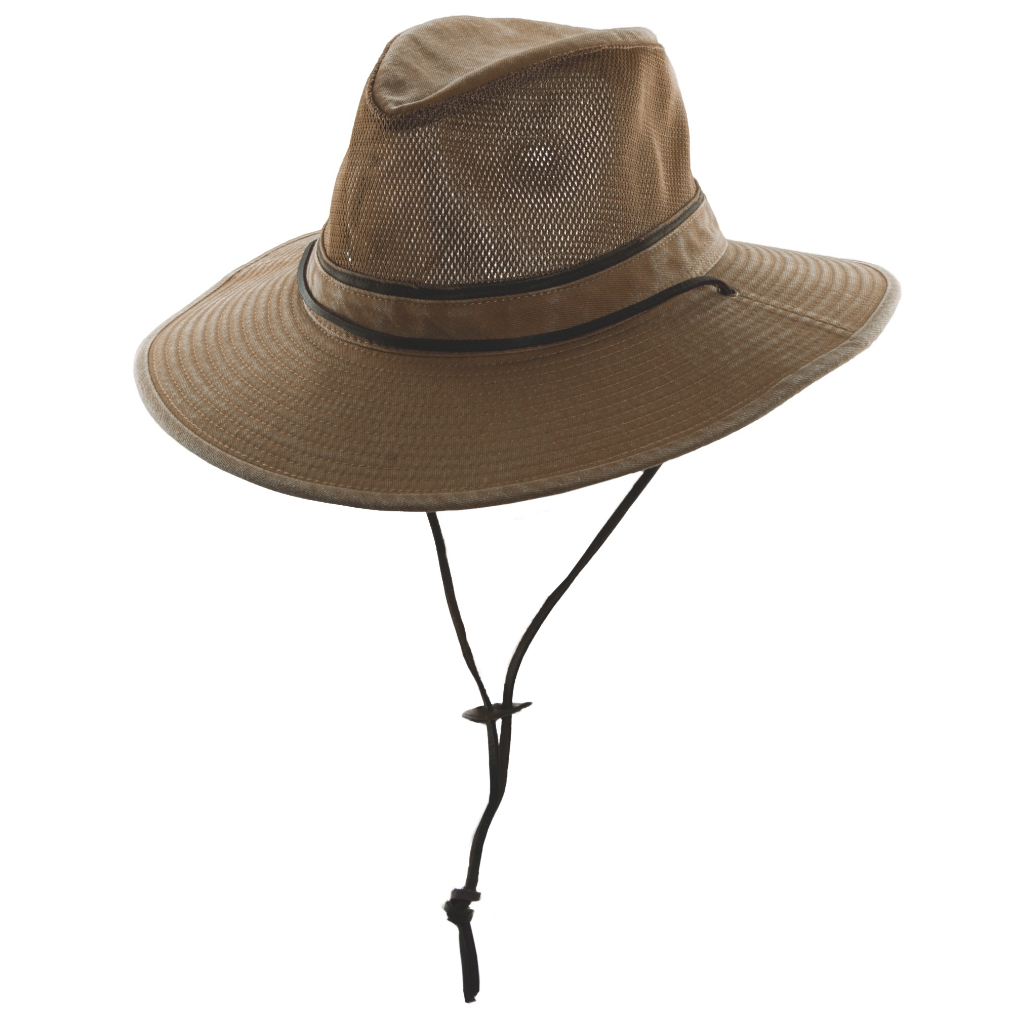 Brown Cotton Safari Hat with Mesh Sidewall 7ac5d76f2313