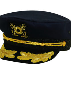 Twill Nautical Cap with Gold Trim Navy