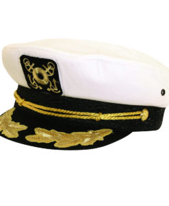 Twill Nautical Cap with Gold Trim White