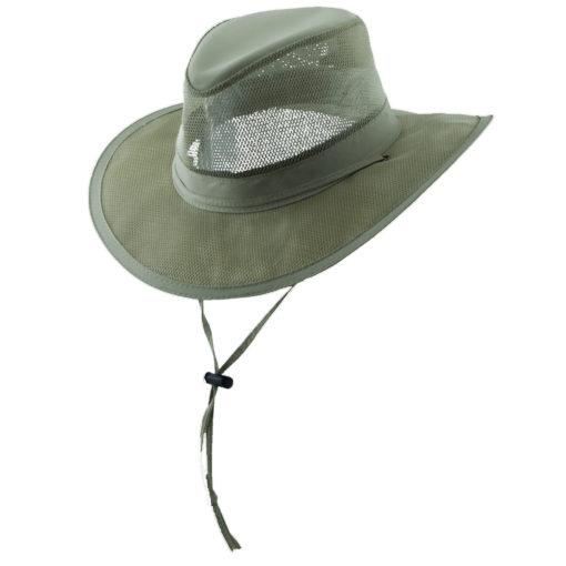 Supplex Nylon Safari Hat with Mesh Sidewall Khaki