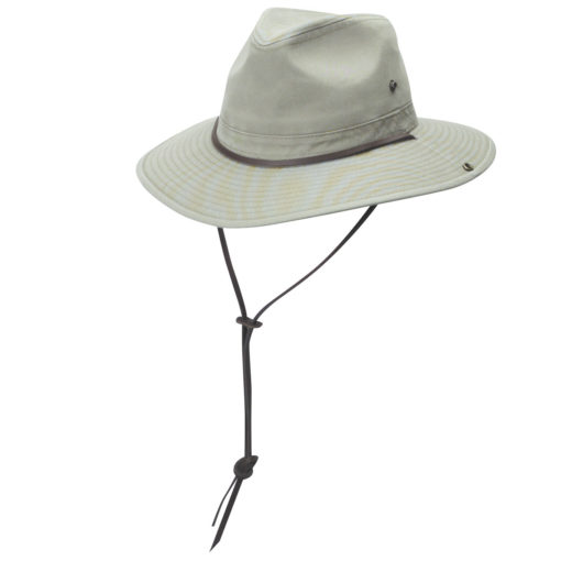 Khaki Garment Washed Twill Safari Hat