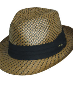 Black on Putty Straw Fedora with Black Trim