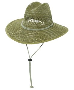 Rush Straw Lifeguard Hat with Chin Cord Taupe