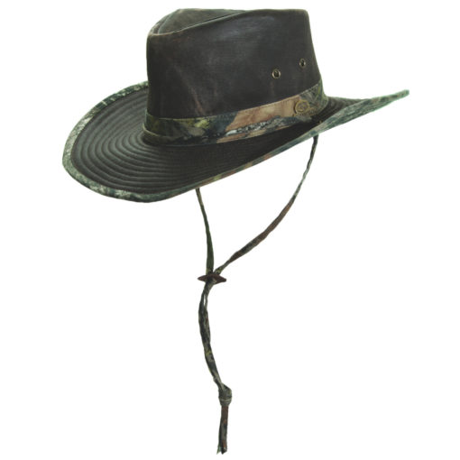 Boys Mossy Oak Weathered Cotton Outback Hat with Elastic Sweatband (One Size)