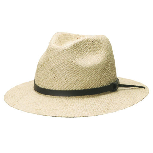 Organic Raffia Safari Hat with Faux Leather Trim