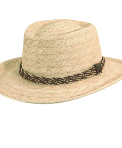 Natural Organic Raffia Gambler Hat with Palm Tree Pin