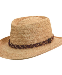 Tea Organic Raffia Gambler Hat with Palm Tree Pin