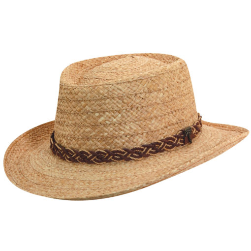 Tea Organic Raffia Gambler Hat with Palm Tree Pin
