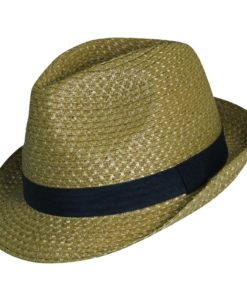 Paper Braid Fedora with Ribbon Trim