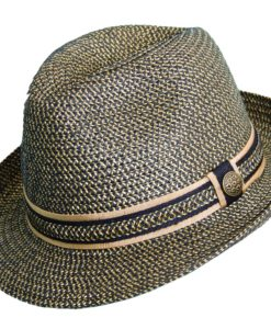 Paper Braid Fedora with Ribbon Trim Black Tea