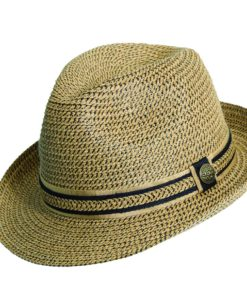 Paper Braid Fedora with Ribbon Trim Tea Black