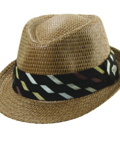 Brown Matte Toyo Fedora with Diagonal Pattern Trim