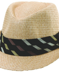 Natural Matte Toyo Fedora with Diagonal Pattern Trim