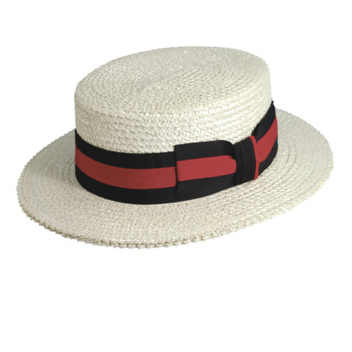 Braided Laichow Boater Hat with Grosgrain Trim