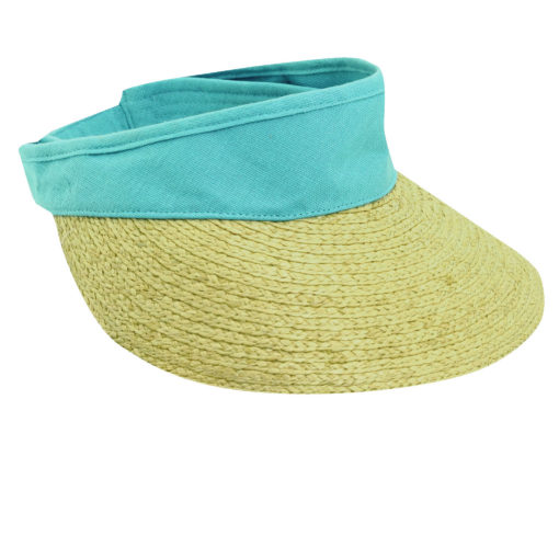 Raffia Visor with 4 inch Peak Sky