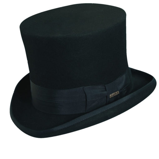 Wool Felt Top Hat with 7 inch Crown Black