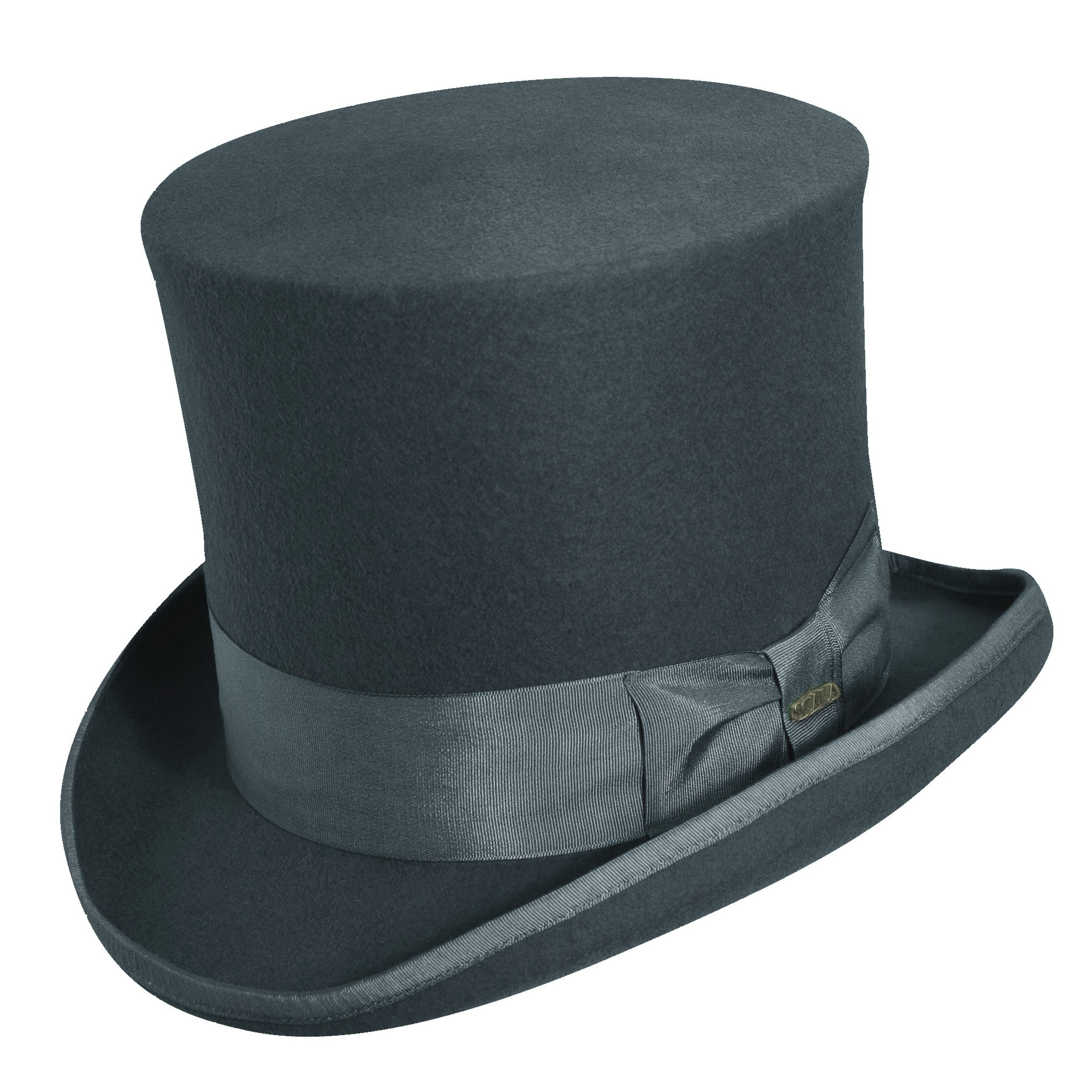 2e3e8953db9 Wool Felt Top Hat with 7 inch Crown Grey