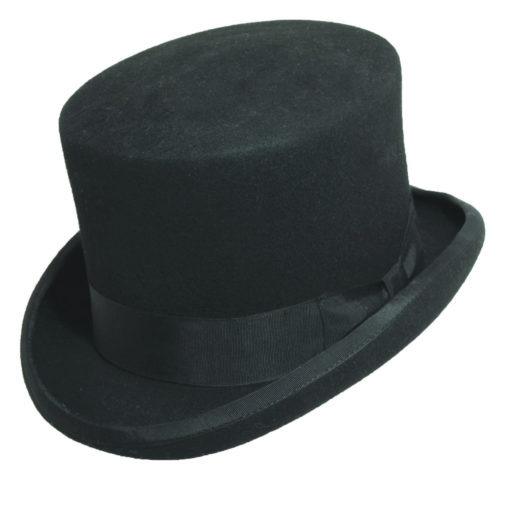 Wool Felt Top Hat with 5 1/4 inch Crown Black